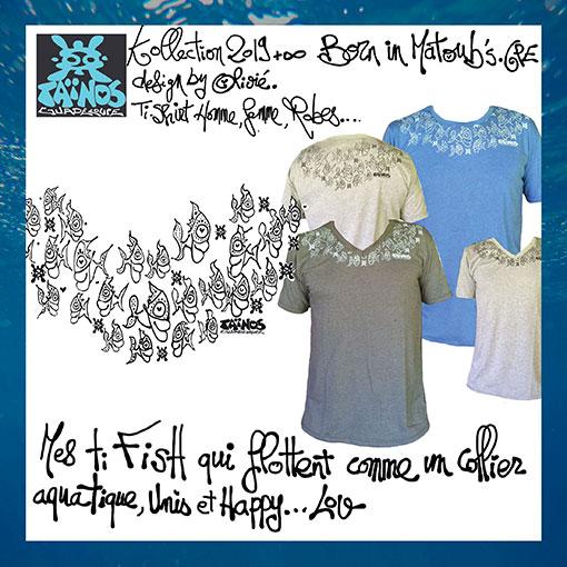 t-shirt fISH Taïnos guadeloupe 2019