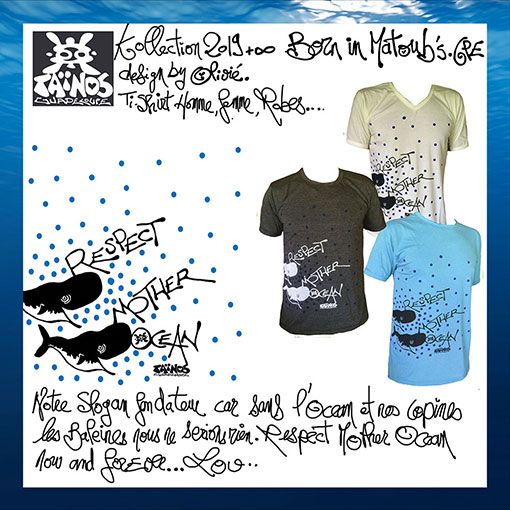 t-shirt RESPECT MOTHER OCEAN Taïnos guadeloupe 2019